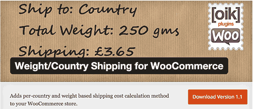 country shiping weight
