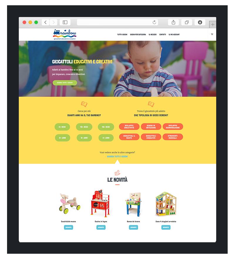Realizzazione sito wordpress per Rainbow giocattoli