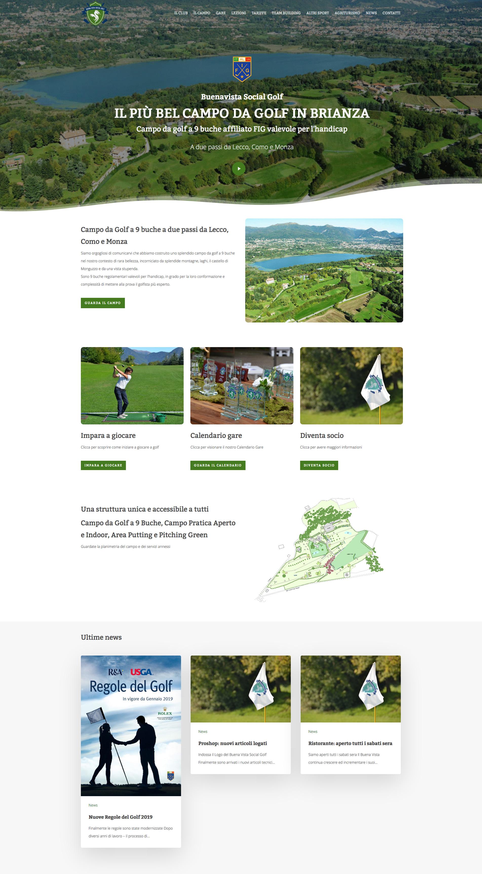 sito web per campo da golf