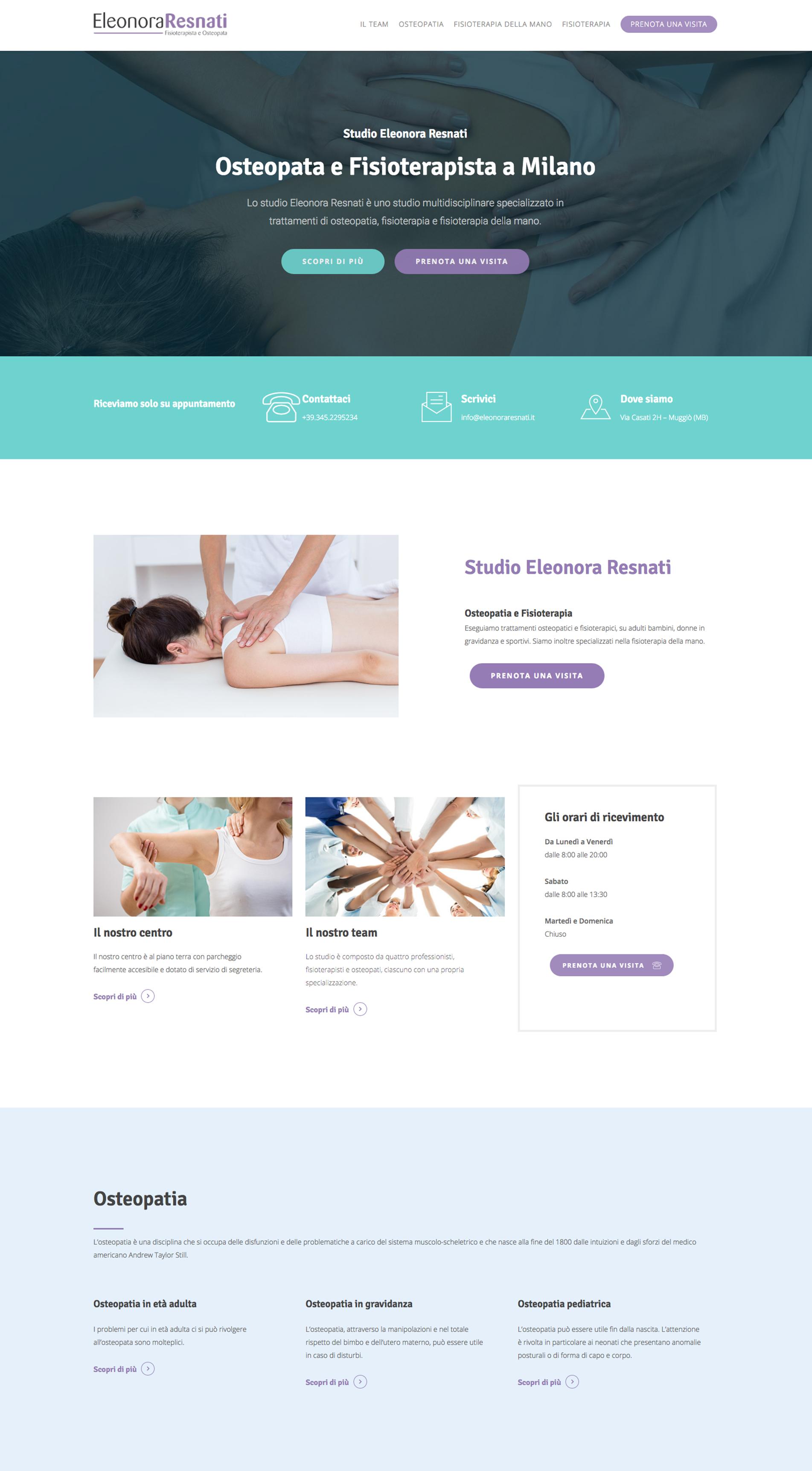 home sito internet fisioterapista eleonora resnati